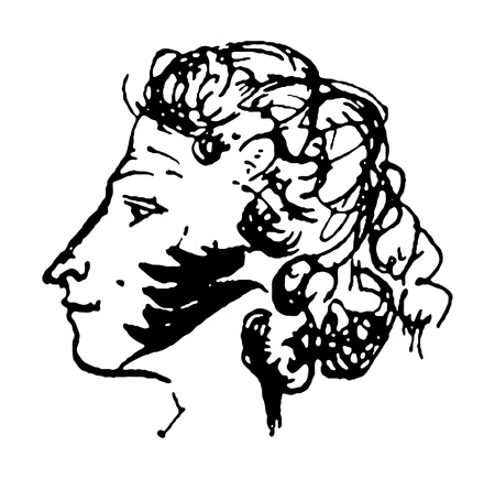 a literary sketch: self-portrait of A.S. Pushkin - great Russian writer and poet isolated on a white background Illustration