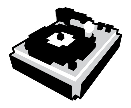 3D pixel cartoon style turntable in black and white Vector