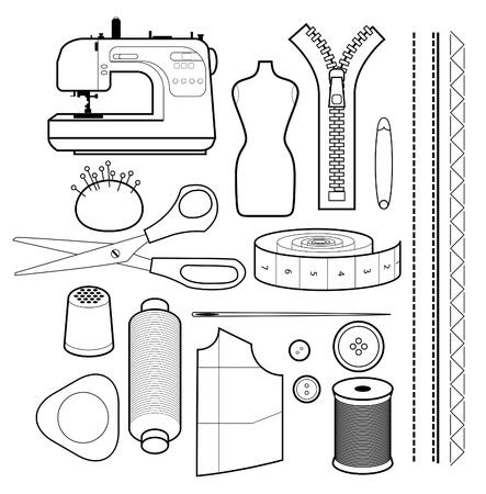 maquinas de coser: un conjunto de herramientas de costura aislados en blanco Vectores