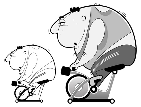 greyscale: Bike simulator workout  Greyscale and outline Illustration