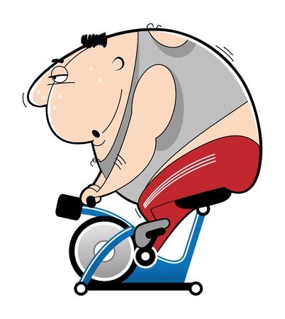 actividad fisica: simulador de entrenamiento en bicicleta Vectores