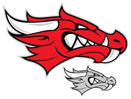 dragon rouge: t�te de dragon rouge isol� sur blanc