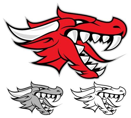 dragon rouge: Chef d'un dragon rouge isol� sur blanc Illustration