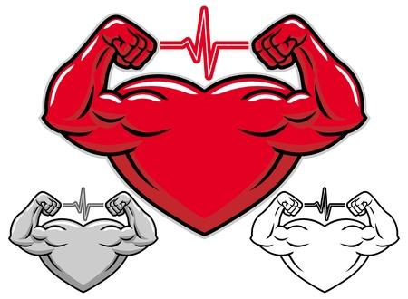 testépítő: Erős szív rajzfilmfigura Illusztráció