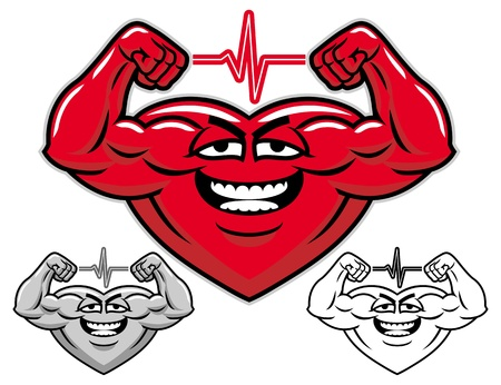 arm muscles: Strong heart cartoon character