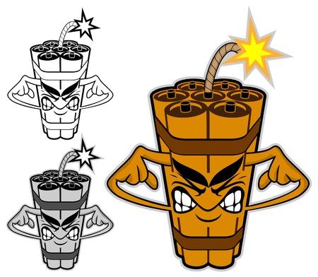 dinamita: Personaje de dibujos animados TNT aislado en blanco Vectores