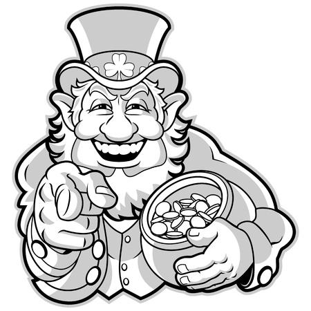leprechaun: Leprechaun with a pot of gold Illustration