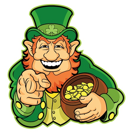 Leprechaun with a pot of gold Illustration