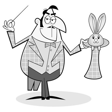 Cartoon style magician, performing a trick Vector