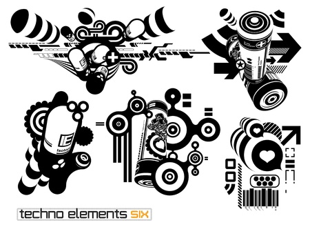 Set of techno compositions for print multimedia and web Vector