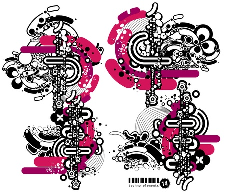 Set of techno compositions for print multimedia and web Stock Vector - 13777401