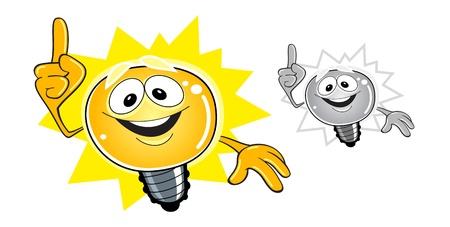 Idea bulb cartoon character