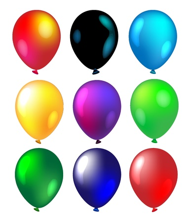 Set of 9 colorful balloons isolated on white Stock Photo - 14470461