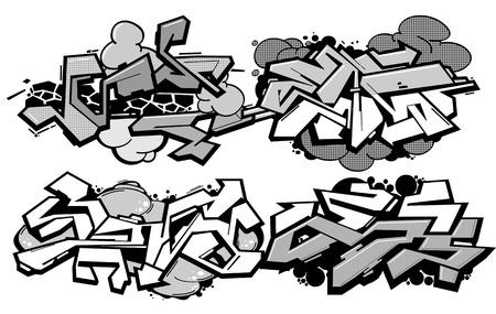 grafiti: Set of 4 graffiti compositions isolated on white