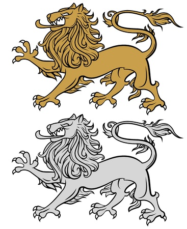 lion illustration isolated on white, heraldry style illustration