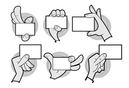 Set of cartoon hands holding a card isolated on white photo