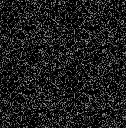 Seamless pattern, tattoo old school style photo