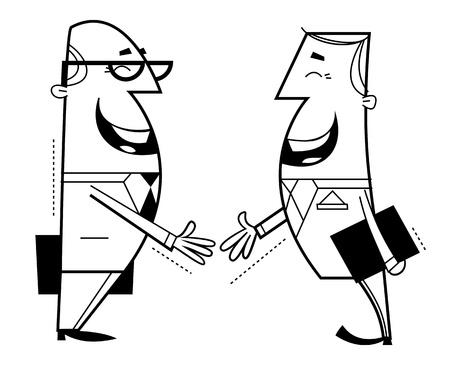 Businessmen shaking hands cartoon illustration  Outline  illustration