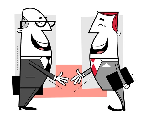Businessmen shaking hands cartoon illustration  illustration