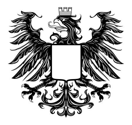 Heraldic style eagle isolated on white