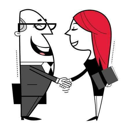 Shaking hands cartoon illustration