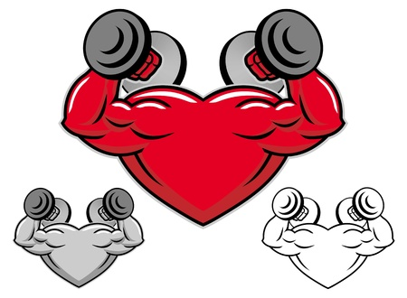 strong heart with dumbbells