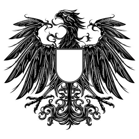 silhouette aquila: Araldico stile aquila isolato su bianco