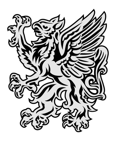 Heraldry style griffin illustration isolated on white Stock Illustration - 17589807