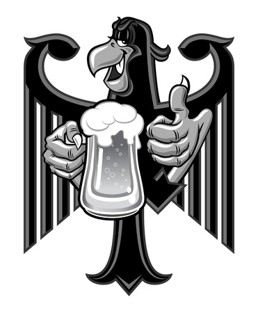 Cartoon eagle holding a mug of beer photo