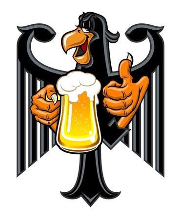Cartoon eagle holding a mug of beer