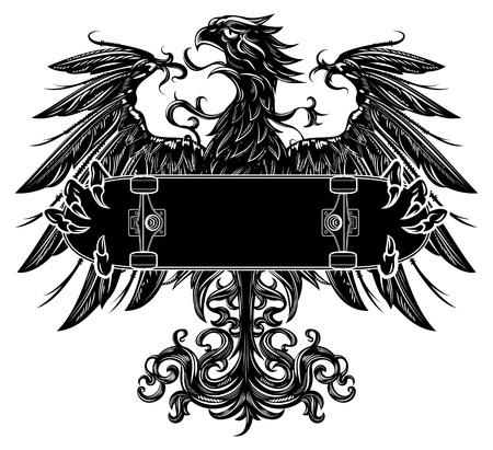 Heraldic eagle holding a skateboard photo