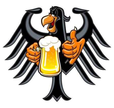 adler silhouette: Cartoon Adler, einen Krug Bier Lizenzfreie Bilder