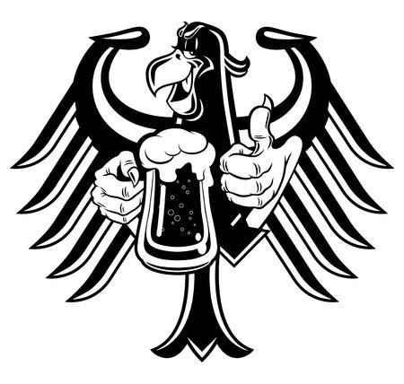 cartoon eagle: Cartoon eagle holding a mug of beer