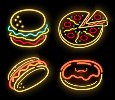Food symbols in neon isolated on black photo