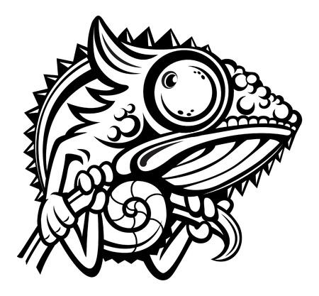 chameleon lizard: Chameleon cartoon character isolated on white background