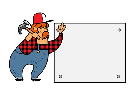 handy: Construction worker with a hammer cartoon character isolated on white