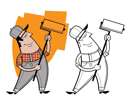 cartoon painter: Painter cartoon character Stock Photo
