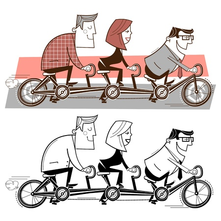 Office workers riding a triple bicycle photo