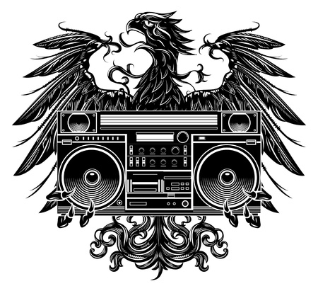 dance hip hop: Heraldry style eagle holding a boombox t-shirt design