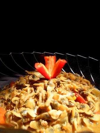 FOODIES: Close up of sauteed shellfish