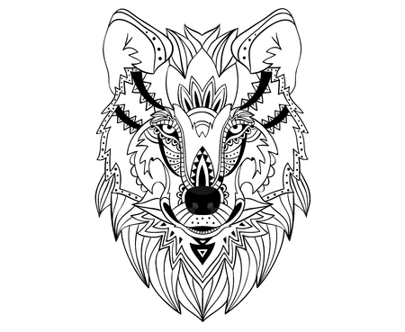 Ethnic hand drawn wolf face.