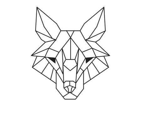 Black polygonal wolf.