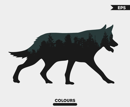 Wolf  with Trees Background on the body Imagens - 99334557