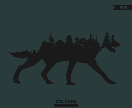 Wolf  with Trees Background on the body Imagens - 99334558