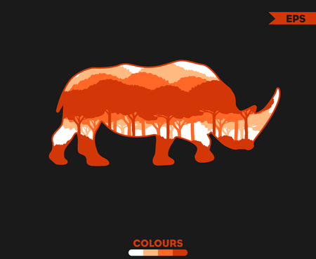 Trees Rhinoceros Silhouette 写真素材 - 99334560