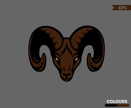 Angry Ram Head Ilustrace