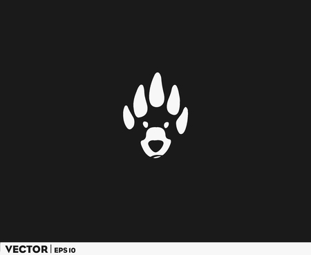 Bear Head Footprint Illustration