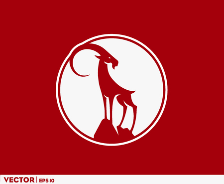 Big Horn Goat Circle Logo Stock Illustratie