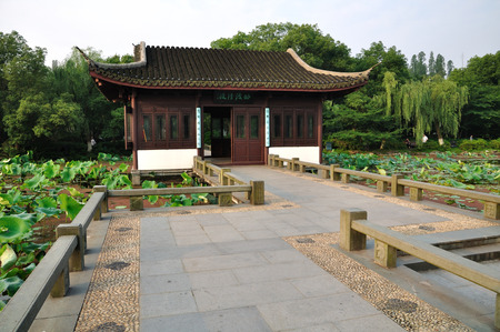 horizontal format horizontal: lotus pond and chinese pavilion