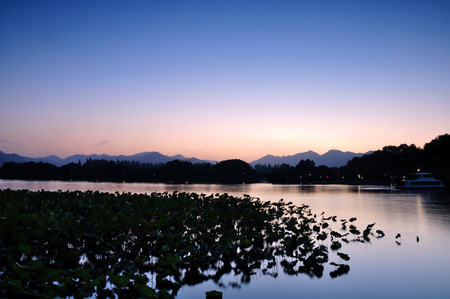 horizontal format horizontal: West Lake scenery Stock Photo